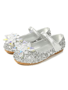 Glitter Party Shoes Argento punta rotonda strass Flat Girl Girl Shoes