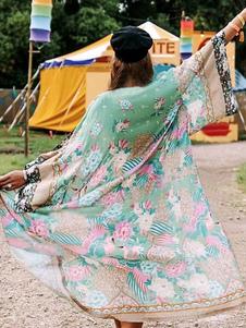 Cover Up For Woman Зеленый шифон с цветочным принтом с длинным рукавом Летний пляж Купальники