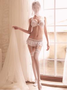 Sujetador de encaje hermoso con volantes de nylon Sujetadores de boda Lencería sexy para mujeres