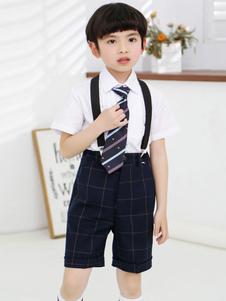 Suporta Anel Suits Algodão Curto Mangas Tie Camisa Shorts Ternos Do Partido Formal Preto Para As Crianças 3 pcs