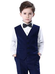 Tuta da uomo girocollo in cotone con maniche lunghe Cravatta Gilet da uomo in cotone nero 4 pezzi