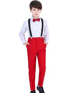 Ternos de Portador do anel de Algodão Camisa de Mangas Compridas Cravat Calças Formal Ternos Do Partido Para Crianças 3 pcs