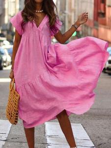 Vestido de verão de grandes dimensões V Neck Mulheres Maxi Beach Dress