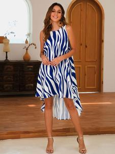 Vestido de verano de gran tamaño con estampado de cebra Vestido de playa alto y bajo