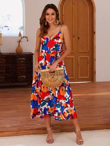 Vestido de verano floral de impresión sin respaldo de las mujeres vestido de deslizamiento sexy