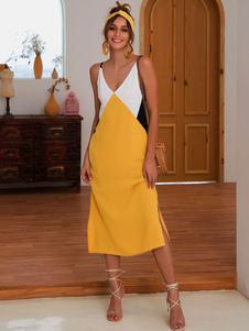 Vestido de verano de las mujeres color bloque sin respaldo sin mangas vestido de deslizamiento