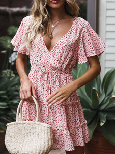 Vestido de verão rosa V Neck Ditsy Floral Imprimir vestido de praia curto