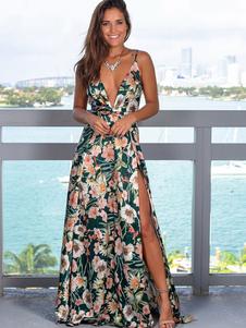 Sexy Maxi Vestido Mulheres Floral Imprimir Dividir V Neck Backless Andar Vestido Comprimento