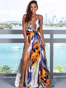 Sexy Maxi Vestidos Dividir Backless V Pescoço Impresso Pavimento Comprimento Vestido
