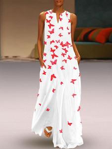 Maxi Vestidos Jewel Neck Branco Impresso Sleeveless Long Dress