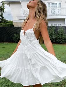 أبيض الصيف اللباس القطن بلا أكمام المرأة فستان قصير الشاطئ