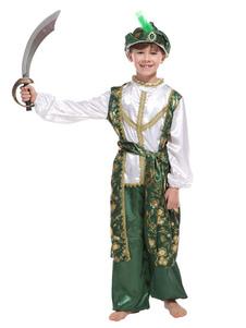 Crianças Aladdin Cosplay Verde Floral Imprimir 4 Peça Meninos Trajes Cosplay Halloween