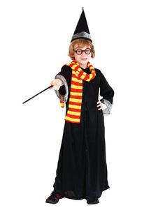 Costume Carnevale per Bambini Bambini Harry Potter Cosplay Grifondoro Gown Set Nero 5 pezzi Bambini Costumi Cosplay Halloween Costume Carnevale