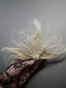 عيد الرعباكسسوارات فستان الزعنفة 1920s غاتسبي العظيم التبعي الأبيض صافي اللؤلؤ الريشة بيرل الزعنفة أغطية الرأس
