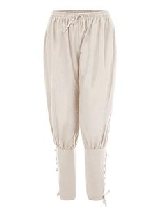 Homens Calça Do Vintage Lace Up Aristocrata Estilo Perna Larga Trajes de Algodão Retro Para O Homem Halloween