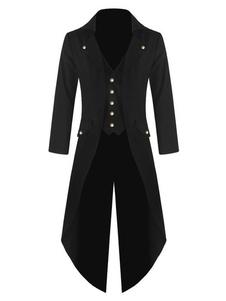 Disfraz Carnaval Abrigo negro Vintage Aristocrat Button Decor Tuxedo trajes retro para hombre Halloween Carnaval