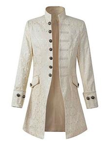 Disfraz Carnaval Blanco Vintageblazer botón de estilo aristócrata decoración soporte cuello trajes retro para hombre Halloween Carnaval