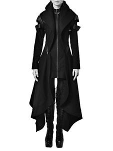 Disfraz Carnaval Traje Negro Gótico Cremallera Diseño Irregular Algodón Abrigo Retro Para Mujeres Halloween Carnaval