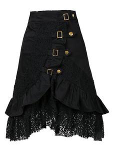 Costume Carnevale Costume Nero Gotico 2020 Gonna RetrÒ Donna Halloween Bottoni Metallici Volant Cotone