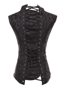 Black Steampunk Costume Metal Detalhes Lace Up Espartilho Para Mulheres Halloween