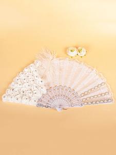 1920-е годы Великий Гэтсби Аксессуар Лоскутное платье Аксессуары Белые перья Цветы Кружева Вентилятор Хэллоуин