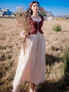 يذكر المرأة الرجعية الأزياء القطن الكتان اللباس النمط الرعوي المرأة اللباس