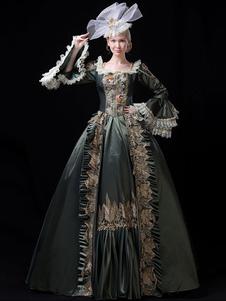 عيد الرعبالنساء الرجعية الأزياء الدانتيل الكشكشة مطرز اللباس الباروك نمط ماري أنطوانيت زي تنكر الكرة بثوب