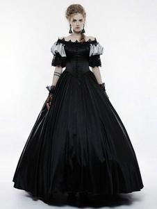 Disfraz Carnaval Disfraces Negros Retro Encaje Plisado Vestido De Fiesta De Edad Media Halloween Carnaval