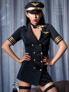 Женщины Airhostess Костюм Двубортный Штамповка 5 Шт Сексуальный Костюм Хэллоуина