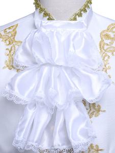 Disfraz Carnaval Vestido vintage blanco estilo aristócrata de encaje con volantes para el hombre Halloween Carnaval