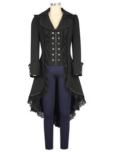 Женское черное готическое двубортное пальто, пальто косплей молния, рюши, ретро пальто готика для женщин Хэллоуин