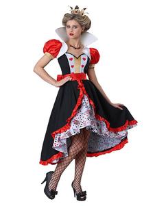 Костюмы Алисы В Стране Чудес Карнавальные костюмы с красным принтом и оборками Хэллоуин