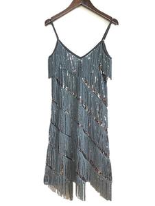 Женские платья-хлопушки 1920-х годов Большой костюм Гэтсби Бахрома Блестки Ретро-костюм Хэллоуин