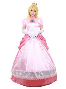 Super Mario Bros Косплей Костюм Принцесса Персик Розовый 4 Шт Косплей Набор Хэллоуин