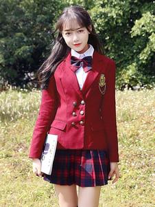 Carnaval Traje de uniforme escolar Blazer cruzado rojo de Ture con falda plisada Mercancía de anime de 3 piezas Halloween
