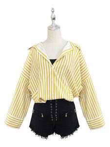 عيد الرعبBoku لا بطل الأكاديمية تأثيري himiko توجا مستشفى ثوب النسخة الأصفر القطن شريطية قميص 4 قطعة bnha تأثيري ازياء