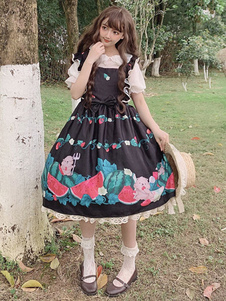 Doce Lolita JSK Vestido Melancia E Texugo Imprimir Arcos Preto Lolita Jumper Saias
