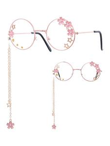 Сладкая Лолита Очки Розовые Цепочки Цветы Звезды Круглая Рамка Солнцезащитные Очки
