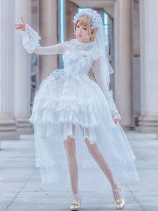 Лолита свадебное платье OP кружева с длинным рукавом оборками Лолита цельные платья