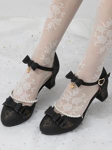 Clássico Lolita Sapatos Bows Ankle Strap Puppy Heel Bomba Lolita Sapatos