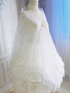 White Lolita Cover Ups Lace Stars Stampa Lolita Wedding Veils