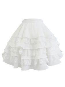 Laço Lolita Anáguas Saia Lolita Em Camadas Brancas Crinolina