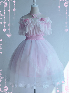 Sweet Lolita One Piece Dress Pink Lace Flowers Lolita Abiti monoblocco