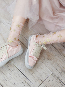 Сладкие носки Лолиты Розовые звезды с принтом Прозрачные свободные носки
