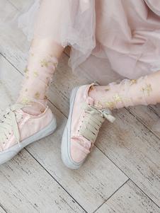Sweet Lolita Socks Pink Stars Stampa Sheer Loose Socks