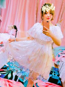 Сладкое платье Лолиты ОП Звезды с принтом Розовые оборки Лолита Цельные платья