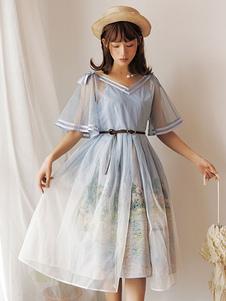 Классическая Лолита JSK Платье Моне Картина Маслом с принтом Синие юбки Лолита Джемпер