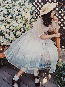 Классическая Лолита Ups Monet Картина маслом с коротким рукавом V-образным вырезом Лолита Пиджаки