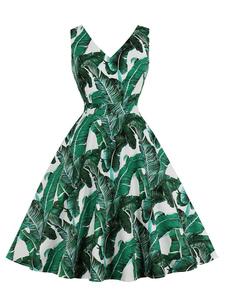 Vestido de verano vintage Bolsillos con cuello en v Vestido sin mangas con estampado tropical de las mujeres sin mangas de los años 50