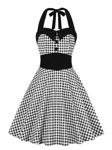 خمر الصيف اللباس دبوس حتى أزرار 1950 ثانية منقوشة القماش القطني روكبيلي اللباس